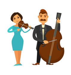 Orchestra members with violin and violoncello vector