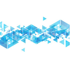 Tech blue triangles and waves abstract background vector