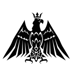 Black heraldic eagle crown vector