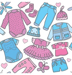 Seamless pattern children clothing vector