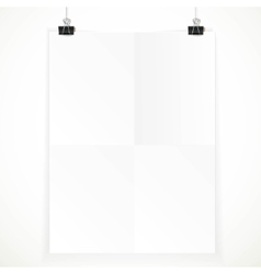 White paper hanging on two binders isolated on a vector