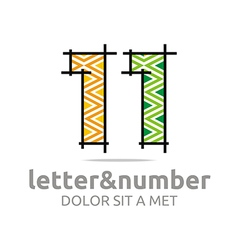 Abstract logo number 1 figure lines complexion vector