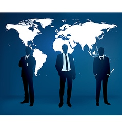 Businessman are standing in front of large world m vector