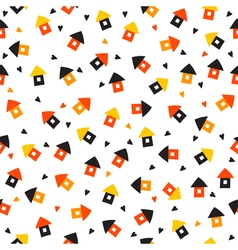 Seamless pattern with little houses and hearts vector image