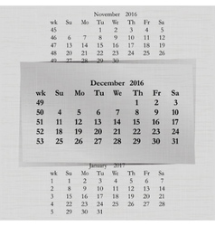 Calendar month for 2016 pages december vector