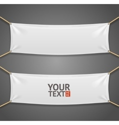 Blanc fabric rectangular banner with ropes vector