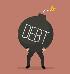 Businessman bearing debt bomb vector