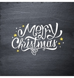 Merry christmas handdrawn greetings on chalkboard vector