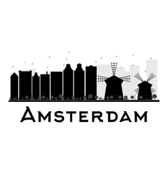 Amsterdam city skyline black and white silhouette vector