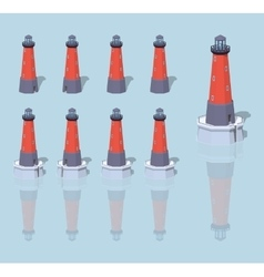 Low poly red lighthouse vector