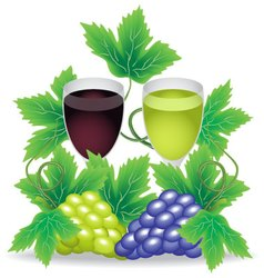 Glasses of red and white wine grapes on the vector