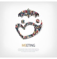 Meeting people sign 3d vector
