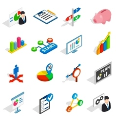 Business plan icons set isometric 3d style vector