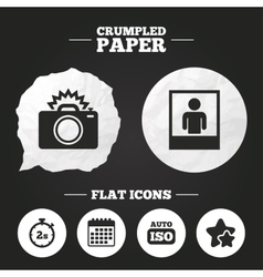 Photo camera icon flash light and auto iso vector