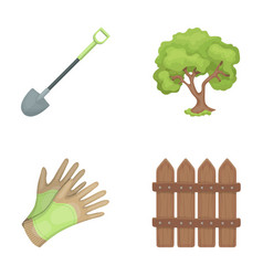 A shovel with a handle a tree in the garden vector