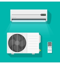 Air conditioner units set isolated on green vector