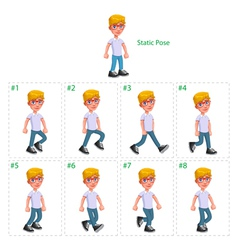 Animation of boy walking vector image vector image