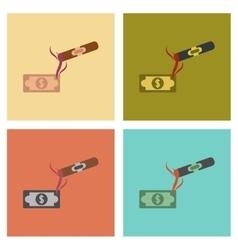 assembly flat icons poker cigar dollar vector image