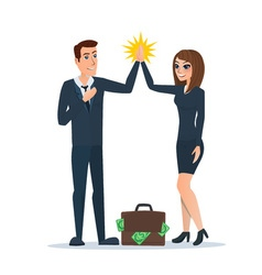 Businessman and woman clapping hands each other in vector
