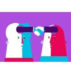 Bussiness two heads shaking vector
