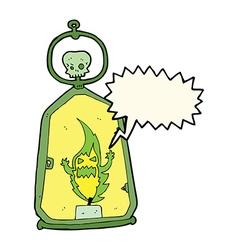Cartoon spooky lantern with speech bubble vector