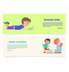 children reading zone information vector image