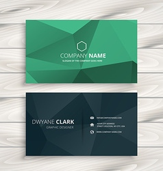Clean low poly business card template vector
