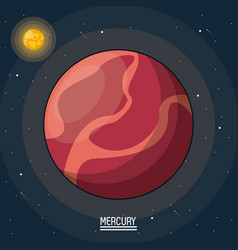 Colorful poster of the planet mercury in the space vector