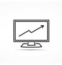 Computer with Graph Line Icon vector image vector image