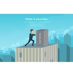 Confident businessman pushing box vector image vector image