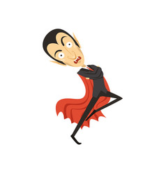 Count dracula dancing vampire in black suit and vector