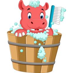 Cute hippo bathing time vector