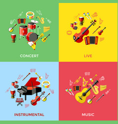 digital green music instruments vector image vector image