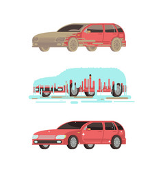 Dirty and clean shine car washing stages vector