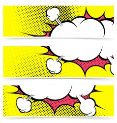 Explosion zap cloud stickers collection in comic vector image
