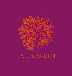 fall red and orange tree and foliage sketch vector image