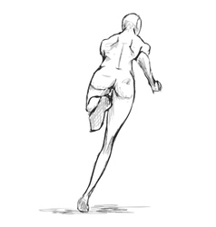 Female runner figure sketch From behind vector image
