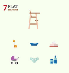 Flat infant set of nappy tissue bathtub and vector