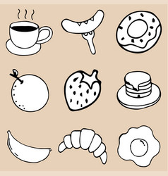 Hand drawing breakfast doodle icon design vector