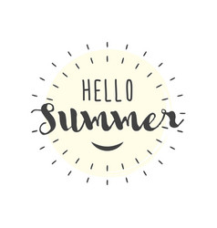Hello summer letters with smile vector