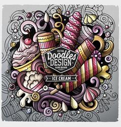 Ice cream cartoon doodle vector