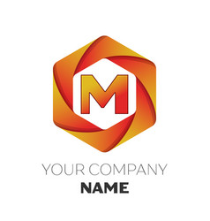 Letter m logo symbol on colorful hexagonal vector