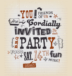 Party invitation poster on school paper vector