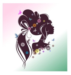 Portrait of a girl with flowers and butterflies vector image vector image