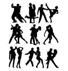 salsa and tango activity silhouettes vector image