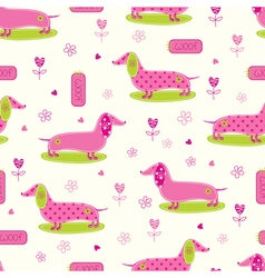 Seamless pattern with cute dog and floral elements vector