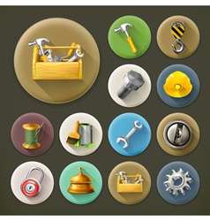 Service and repair long shadow icon set vector