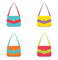 Set of colorful women bag on white background vector