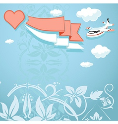 vintage background with heart and airplane vector image