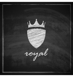 Vintage with crown and shield on blackboard vector